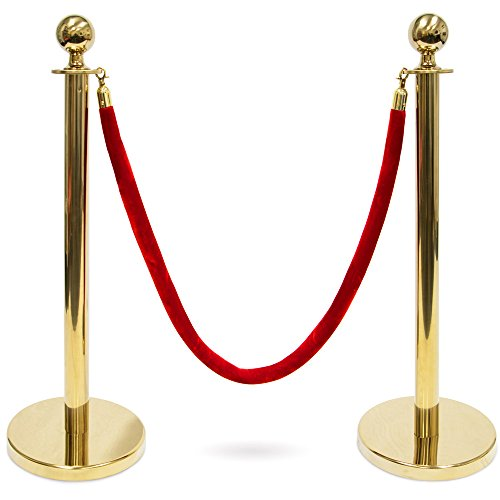 Pudgy Pedro's Party Supplies 3-Foot Polished Ball Top Stanchions with 4.5-Foot Red Velvet Rope (Gold) ()