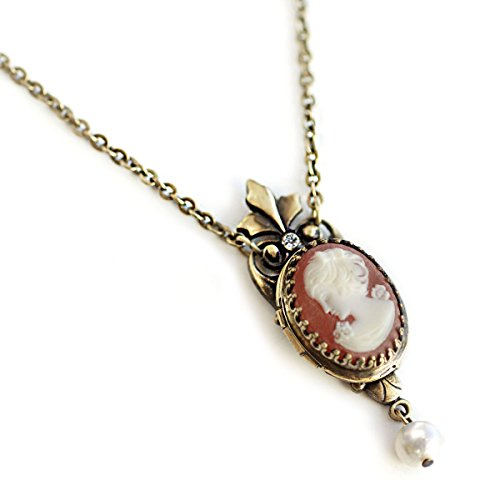 - Sweet Romance Vintage Oval Victorian Cameo Photo Locket Necklace
