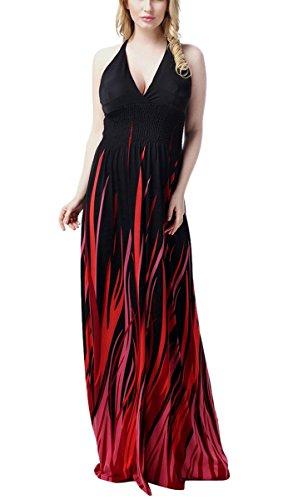 Feoya - Vestido Largo Maxi de Verano Primavera de Mujer para Playa Negro Rojo