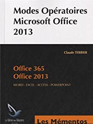 Modes opératoires Microsoft Office 2013