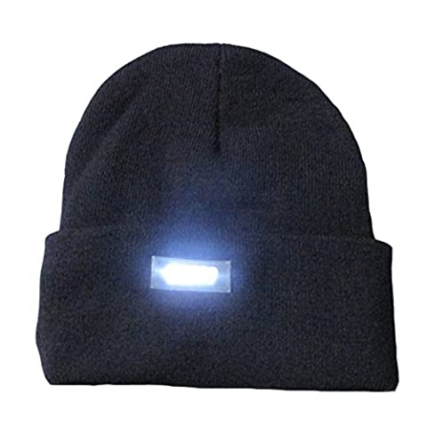Mens Winter 5 lED Lights Lighted Night Fishing Knitt Beanie Hat Cap Roll-up Brim