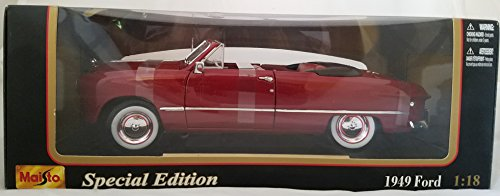 1949 Ford Convertible Maisto Special Edition 1:18 Die-Cast Metal Car Red 1949 Ford Convertible