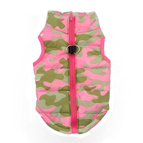 Shubuy Pet Camouflage Cold Weather Coat, Small Dog Vest Harness Puppy Winter Padded Outfit Warm Garment (S, Pink) Tank Harness Camo