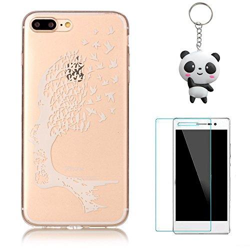 iPhone 8 Plus Coque,Arbre blanc Premium Gel TPU Souple Silicone Transparent Clair Bumper Protection Housse Arrière Étui Pour Apple iPhone 8 Plus + Deux cadeau