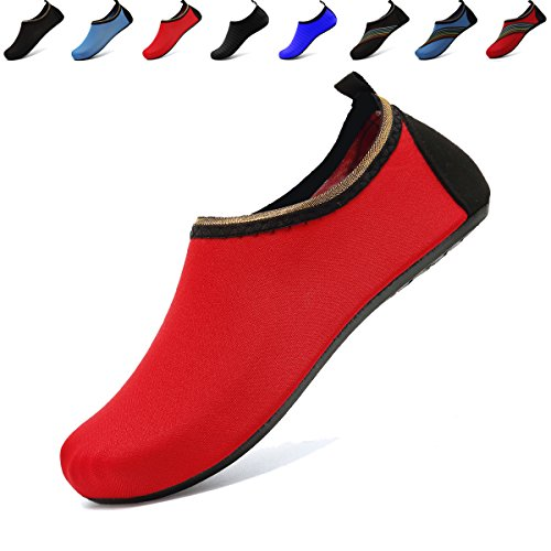 ANLUKE Water Sports Barefoot Shoes Quick-Dry Aqua Yoga Socks Slip-On For Men Women Kids F Red 42/43