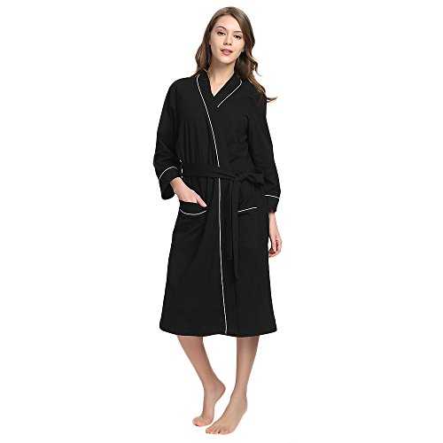 4aebbcf9de36 M M Mymoon Womens Cotton Robe Soft Kimono Spa Knit Bathrobe Lightweight Long