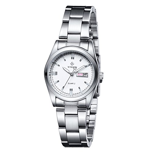 Women Date Day Clock Female Stainless Steel Watch Ladies Fashion Casual Wrist Watches White