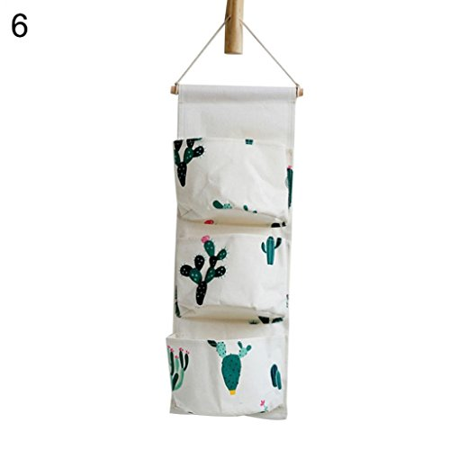 ging Storage Bag Cotton Linen Wall Door Closet Wall Storage Organiser with 3 Pockets (Linen Scissors)