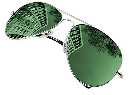 Gafas Mirror Hombre 4sold Mujer Green con Moda de Silver Lente Sol de y Aviator UV400 Diseño Completo Para Retro Para 7fZrtwZHU