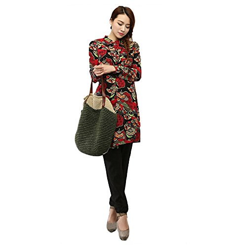Women's Floral Printed Casual Ethnic Loose Cotton Long Sleeve Blouse Mini Dress (XXL, Black flower)