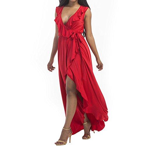 V Bodycon4U Slit Neck Ruffles Maxi Women Dress Summer s Ruffle Belted Red Beach Side wXS6q