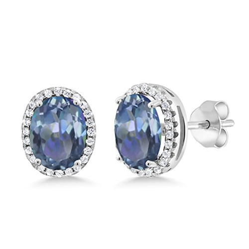 Gem Stone King 4.08 Ct Oval Cassiopeia Mystic Topaz 925 Sterling Silver Earrings