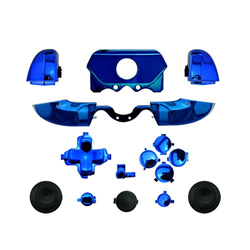 WPS Chrome ABXY Dpad Triggers Full Buttons Set Mod Kits for Newest Xbox One Controller (3.5mm Port) with Screwdriver (Torx T6 T8) Set (Chrome Blue)