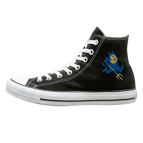 Price comparison product image BI Duke University Blue Devils Casual Unisex Flat Canvas High Top SneakerComfort 36 Black