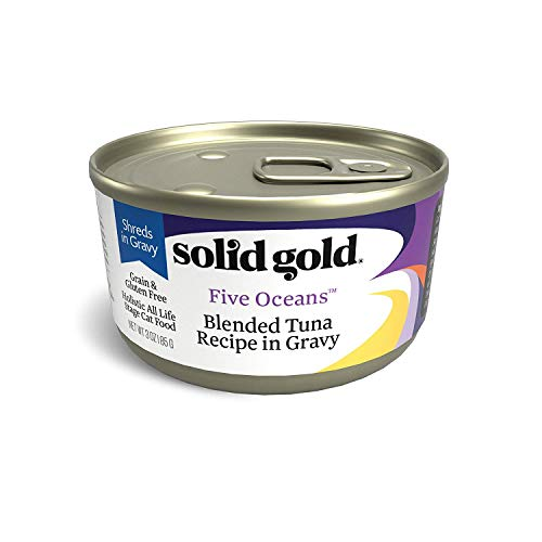 (Solid Gold Shreds In Gravy Wet Cat Food; Five Oceans With Real Tuna (Formally New Moon), 24Ct/3Oz Can )
