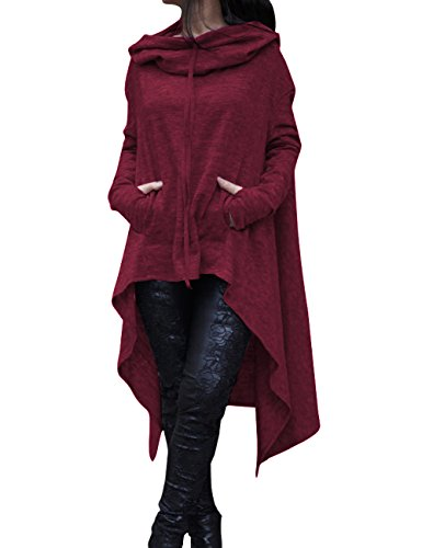 Solid Pullover Sweater - Shineya Women's Solid Color Pullover Hoodie Asymmetric Hem Sweatshirts Dress Wine Red XL