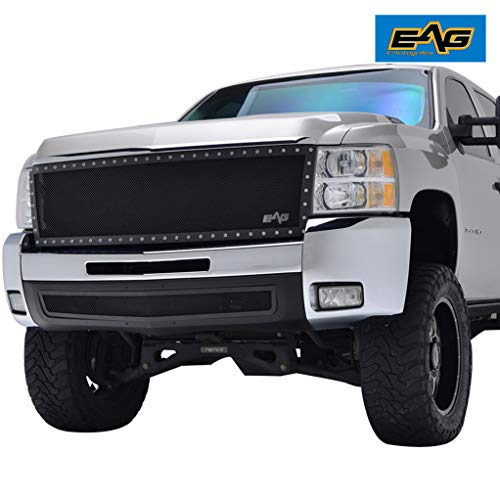 EAG Rivet Stainless Steel Wire Mesh Grille Fit for 2007-2010 Chevrolet Silverado 2500HD/3500HD
