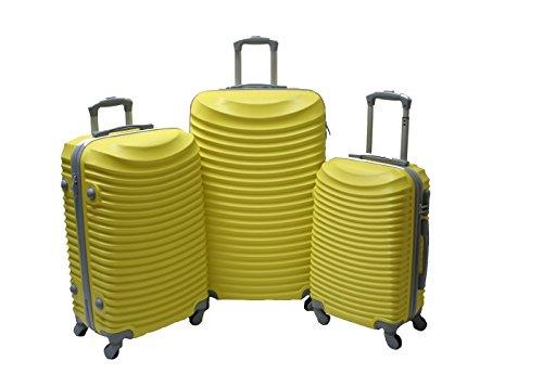 JustGlam - Set 3 Trolley set2030, valige rigide in ABS policarbonato, bagaglio piccolo da cabina, chiusura con lucchetto / giallo