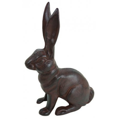 HomeOffice Cast Iron Sitting Bunny Rabbit Garden Statue Patio Yard Large Doorstop (Cast Garden Decor Iron)