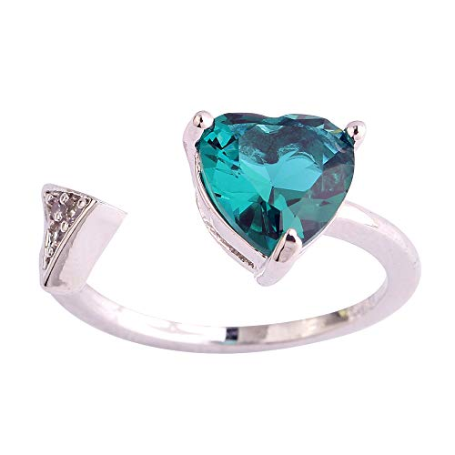 PAKULA Silver Plated Women Simulated Green Topaz Heart & Arrow Open Ring