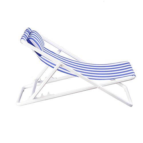 Varmax Ultralight Folding Patio Chair with Removable Headrest and Aluminum Frame , Beach Sling Chair (blue&white stripe) (White Sling Patio Chairs)