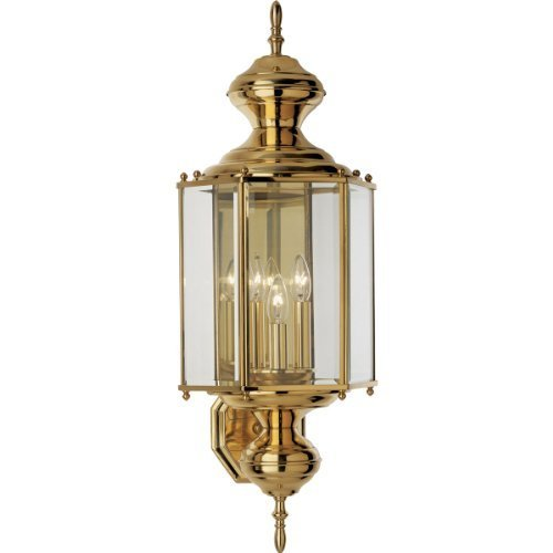 Progress Lighting P5730-10 Hexagonal Wall Lantern with Clear Beveled Glass and Brassguard Finish, Polished Brass by Progress Lighting