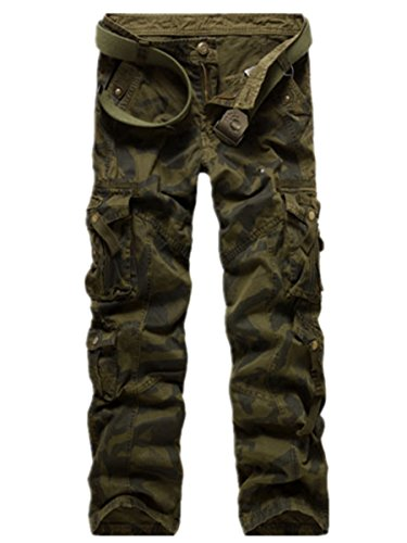 Easy Men's Casual Hip-hop Loose ARMY Camo Combat Work Trousers long pants green