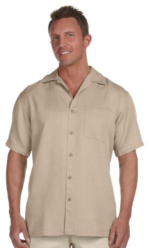 (Harriton Men's Bahama Cord Camp Shirt, 3XL, Sand)