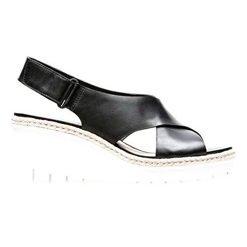 (CLARKS New Women's Palm Glow Wedge Slingback Sandal Black Leather)