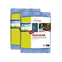 ALCLEAR Poliertücher 2-Seiten-Allrounder für Auto Motorrad & Poliermaschine, Detailing Mikrofaser Poliertuch Set, 2er Set, saugstark 40x40 cm blau