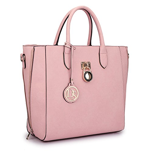 Extra Large Satchel Handbags Leather Tote Designer Purse w/Removable Shoulder Strap Pink