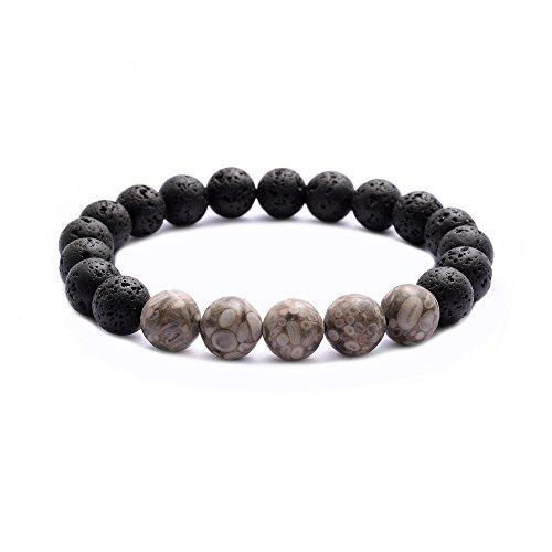 - Jade cabbage Men 10mm Black Lava Stone Beads Bracelet Handmade Stretch Bracelet Bangle (7.3)