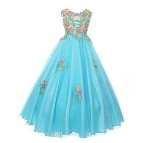 Big Girls Aqua Pink Floral Embroidered Lace Tulle Junior Bridesmaid Dress 14 by Cinderella Couture