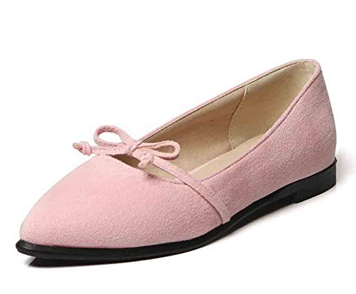 Easemax Kvinners Comfy Faux Suede Buer Spiss Tå Lave Topp Flate Loafers Rosa