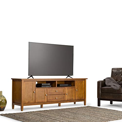 Simpli Home AXCRWSH72-LGB Warm Shaker Solid Wood 72 inch Wide Rustic TV Media Stand in Light Golden Brown For TVs up to 80 inches (Wood Stand Pine Tv)
