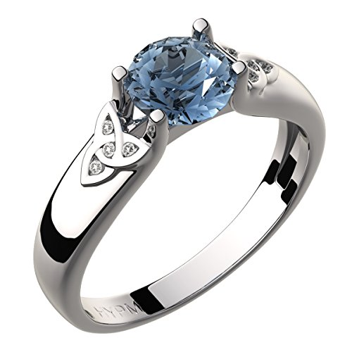 GWG Sterling Silver Celtic Ring for Women Aquamarine Sea Blue Zircon Stone and Trinity Knots Adorned with Crystals - ()
