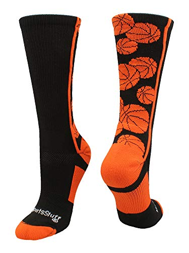 MadSportsStuff Crazy Basketball Logo Crew Socks (Black/Orange, ()