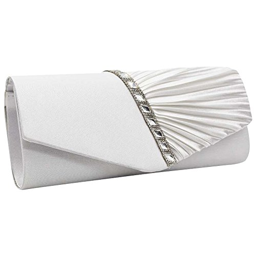 Evening Pleated Crystal Cckuu Studded Satin Clutch White Purse Womens White Sparkly Handbag qCxxwU0