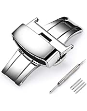 Stainless Steel Deployment Clasp Fasten Gold/Glossy Black/Silver/Rose Gold Watch Band Buckle Color & Width (14mm, 16mm, 18mm, 20mm, 22mm)