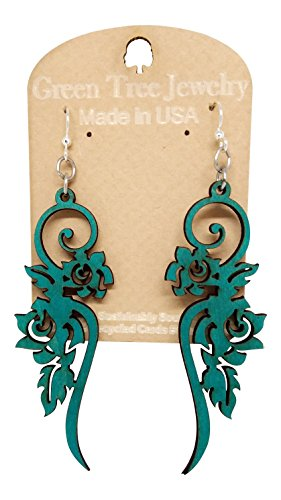 Long Flower Wooden Earrings for Women with Stainless Steel Hooks,Teal Green ()