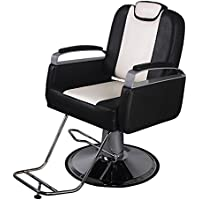 Sliverylake Classic Hydraulic Barber Chair Beauty Salon Equipment, Black & White