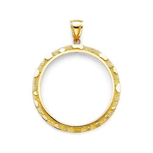Mia Diamonds 14k Yellow-Gold Nugget Frame Pendant For 50 Pesos Coin (55mm x 45mm)