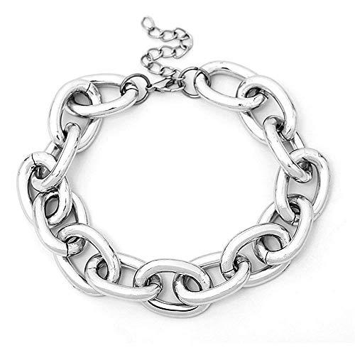 YRY Women Chunky Punk Metal Necklace Fashion Heavy Chain Collar Choker Bracelet Set Women Gift (Necklace)