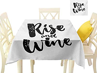 familytaste Wrinkle Free Tablecloths Funny Words,Rise and Wine Brush Calligraphy Quote Humorous Saying Drink Motivation Fun,Black and White Table in Washable Polyester