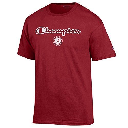 Champion Men's NCAA Classic Jersey Script/Team Logo Cotton T-Shirt-Alabama Crimson Tide-Crimson-XL