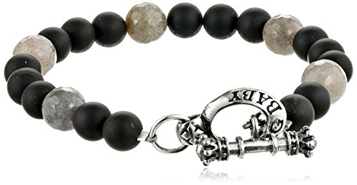 King Baby Men's Black Onyx Bracelet with Labradorite and ...