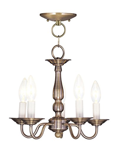 Pendants Porch 5 Light Williamsburg with Antique Brass Finish Size 13 in 300 Watts - World of Crystal