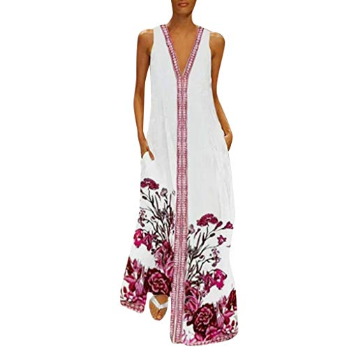 Dressin Women Floral Dress Bohe Long Dress Sleeveless V Neck Dresses Sundress with Pocket Red