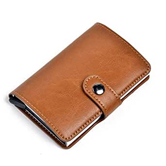 TYT Card Holder with RFID Blocking, Pop-Up Metal Credit Card Case for Men (Brown)