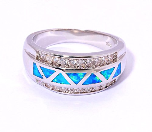 Cherryn Created Blue Opal Cubic Zirconia cz engagement ring fashion rings set
